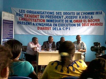 Congolese civil society protests against Omar Al-Bashir's visit to the DRC in February 2014.