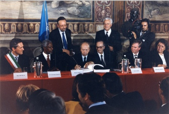 The signing of the Rome Statute in 1998. The Rwandan genocide was one of the catalysts for the international community to take action. © UN Photo