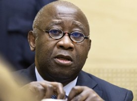 Laurent Gbagbo, former president of Côte d'Ivoire, appears before ICC judges. © AP