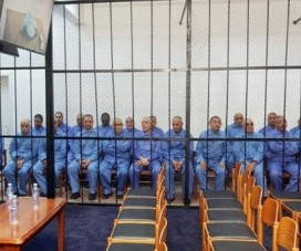 Both the prosecution and defense requested the trial of 40 Gaddafi regime officials be postponed. © AFP