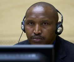 Bosco Ntaganda sits in an ICC courtroom. © 2013 Reuters