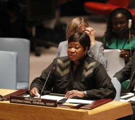 ICC Prosecutor Fatou Bensouda reports to the UN Security Council on the situation in Darfur, Sudan. © UN Photo/Paulo Filgueiras