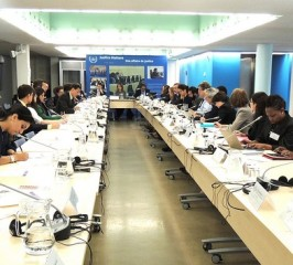 Members of civil society meet with ICC officials and staff at a previous roundtable meeting. © CICC