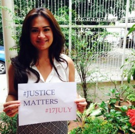 Amielle Del Rosario, Asia-Pacific coordinator for the Coalition for the ICC, shows her support for International Justice Day. © CICC