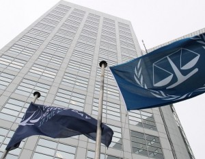 A special International Justice Day flag flies at the ICC last July. © ICC-CPI
