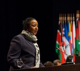 Amina Mohamed, Kenya's cabinet secretary for foreign affairs, addresses ICC states parties in The Hague. © CICC