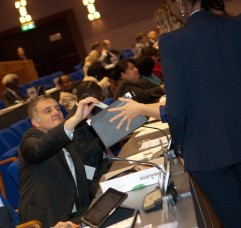 Delegates cast their ballots during elections held at the 12th session of the Assembly of States Parties. © CICC