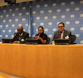 Members of Kenyan civil society discuss the Uhuru Kenyatta ICC case at the United Nations. © KPTJ