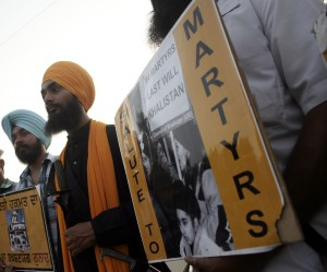 Sikh protesters commemorate the 1984 anti-Sikh violence in India, in which more than 3,000 people were killed. © Demotix/Sanjeev Syal (Some rights reserved)
