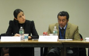 Coalition for the ICC Latin America Regional Coordinator Michelle Reyes Milk and Luis Toro, senior counsel at the Organization of American States (OAS) Department of International Law, at ASP 13. © CICC/Gabriella Chamberland