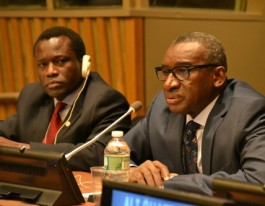 Stephen Lamony and ASP President Sidiki Kaba at a meeting between civil society and African governments. © CICC/Gabriella Chamberland
