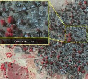 A satellite image showing destruction caused by recent Boko Haram attacks in northeast Nigeria. © DigitalGlobe