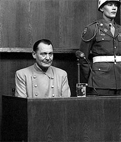 Hermann Goering, Adolph Hitler's designated successor, sits on trial in Nuremberg after the Second World War. © Harvard Law School Library