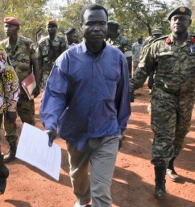 LRA commander Dominic Ongwen in the Central African Republic. © AP