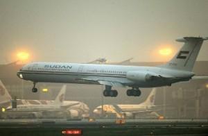 Sudanese President Omar Al-Bashir's plane lands in Beijing in 2011. © REUTERS/Liu Jin