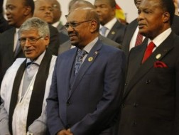Omar Al-Bashir poses for a photo at the AU summit in South Africa. © EPA