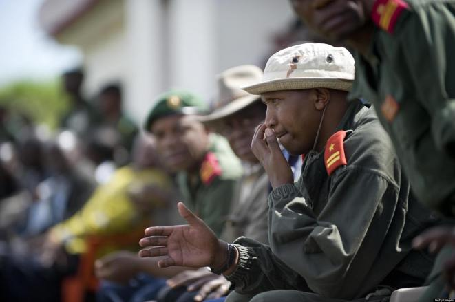 Bosco Ntaganda, the National Congress for the Defense of the People (CNDP) chief of staff who first challenged Nkunda's leadership in early January, attends an integration ceremony held by the Democratic Republic of Congo at the Rumangabo base, north of the Provincial capital of North Kivu, Democratic Republic of Congo on January 29, 2009. AFP PHOTO/Walter ASTRADA (Photo credit should read WALTER ASTRADA/AFP/Getty Images)