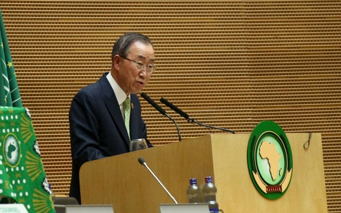 United Nations (U.N.) Secretary-General Ban Ki-moon addresses the opening ceremony of the 26th Ordinary Session of the Assembly of the African Union (AU) at the AU headquarters in Ethiopia's capital Addis Ababa, January 30, 2016. REUTERS/Tiksa Negeri