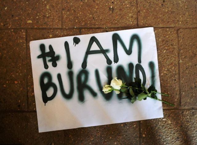 Tony Karumba_A placard reading I am Burundi lies on the ground during a protest in the Kenyan capital Nairobi on December 18, 2015